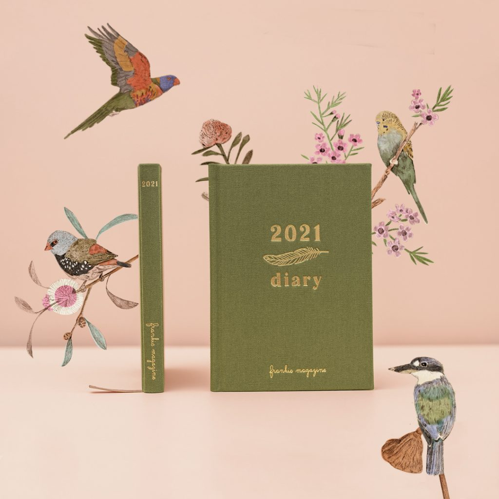 Image of the frankie 2021 diary's front and spine, surrounded by some of the bird illustrations from within it. On a salmon/blush pink table with salmon/blush pink background.