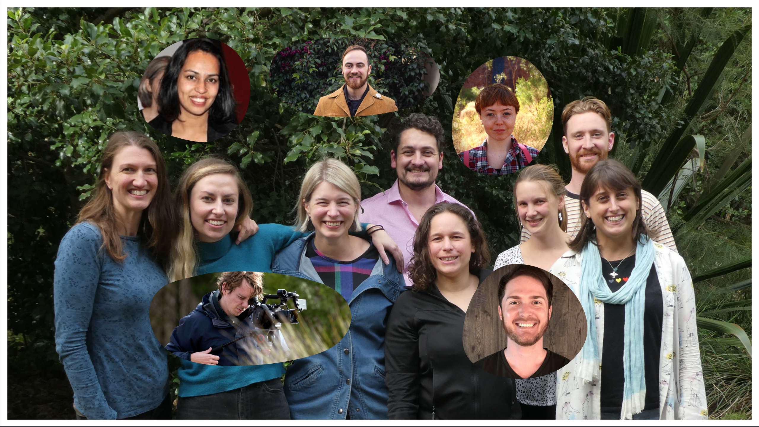 Remember The Wild team standing together in front of greenery at Healesville Sanctuary. There are eight people in the original photo, smiling with their arms around each other. Then there are five insets of team members who couldn't be there on the day the photo was taken.